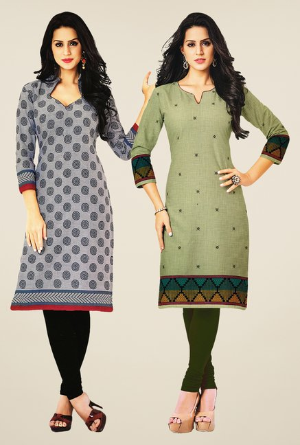 Salwar Studio Grey & Olive Kurtis (Pack Of 2)