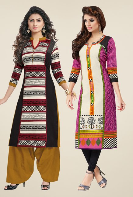 Salwar Studio Black & Pink Kurtis (Pack Of 2)