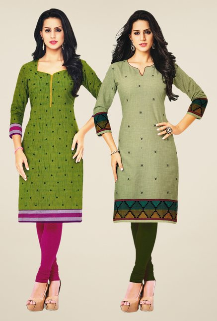 Salwar Studio Green & Olive Kurtis (Pack Of 2)