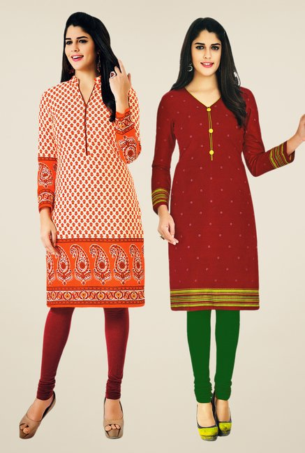 Salwar Studio Orange & Maroon Kurtis (Pack Of 2)