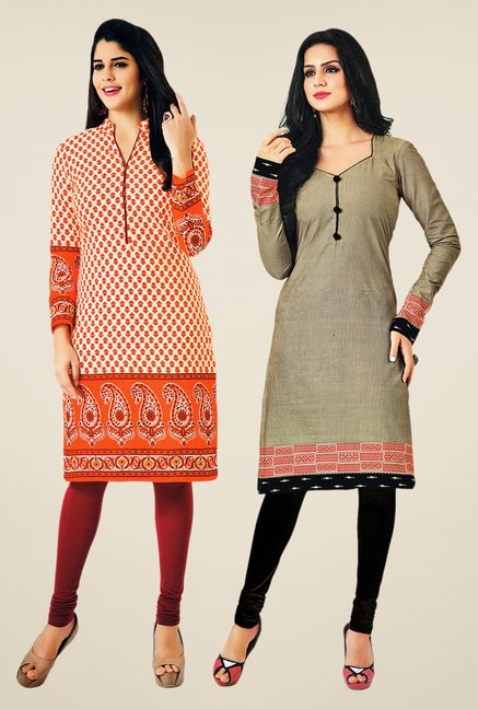 Salwar Studio Orange & Grey Kurtis (Pack Of 2)