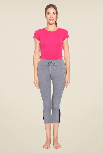 Sweet Dreams Grey Solid Twill Comfort Fit Capris
