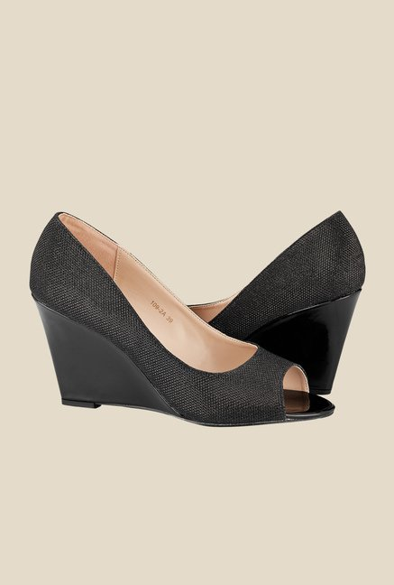 Tresmode Charmed Black Peeptoe Wedges