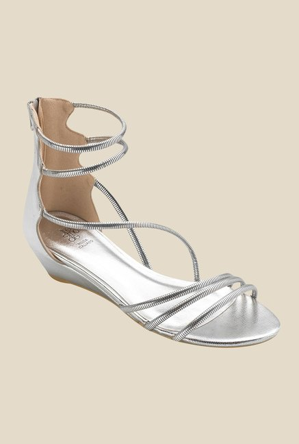 Tresmode Roman Silver Wedge Heeled Sandals