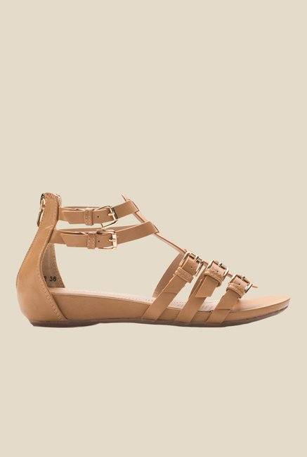 Tresmode Yesil Camel Ankle Strap Sandals