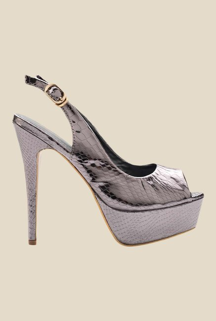 Tresmode Ramp Pewter Back Strap Stilettos