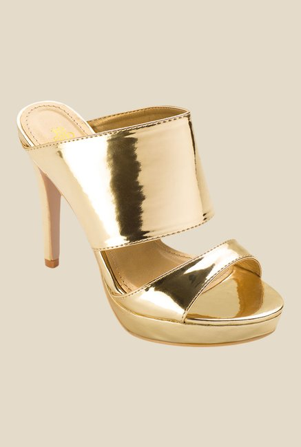 Tresmode Zanny Golden Stiletto Heeled Sandals