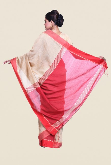 Bengal Handloom Beige & Pink Cotton Silk Saree