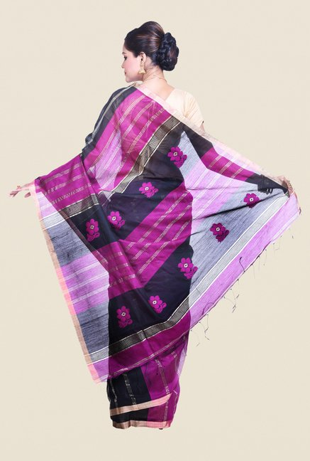Bengal Handloom Striped Purple Cotton Silk Saree