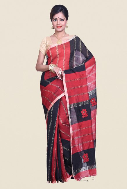 Bengal Handloom Striped Red Cotton Silk Saree