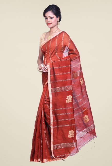 Bengal Handloom Rust Cotton Silk Saree