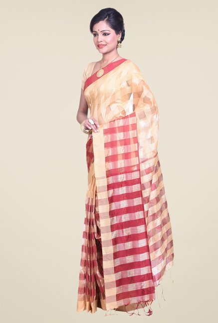 Bengal Handloom Beige & Red Cotton Silk Saree