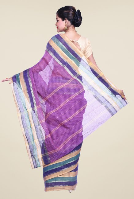 Bengal Handloom Purple Cotton Silk Dry Wash Saree