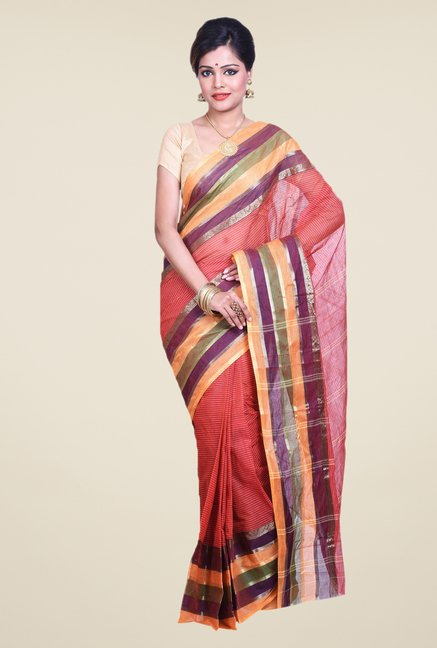 Bengal Handloom Red Cotton Silk Saree