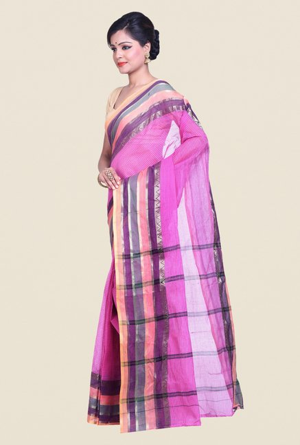 Bengal Handloom Purple Cotton Silk Saree