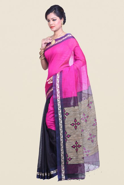 Bengal Handloom Pink Cotton Silk Ghicha Saree