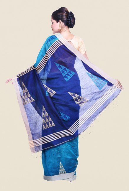 Bengal Handloom Printed Blue Cotton Silk Saree