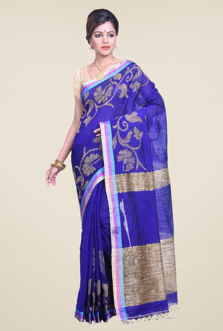 Bengal Handloom Floral Blue Cotton Silk Saree