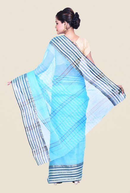 Bengal Handloom Striped Blue Cotton Silk Saree