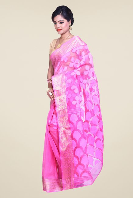 Bengal Handloom Pink Cotton Silk Jamdani Saree