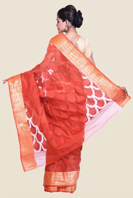 Bengal Handloom Orange Cotton Silk Jamdani Saree