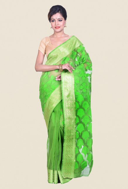 Bengal Handloom Green Cotton Silk Jamdani Saree