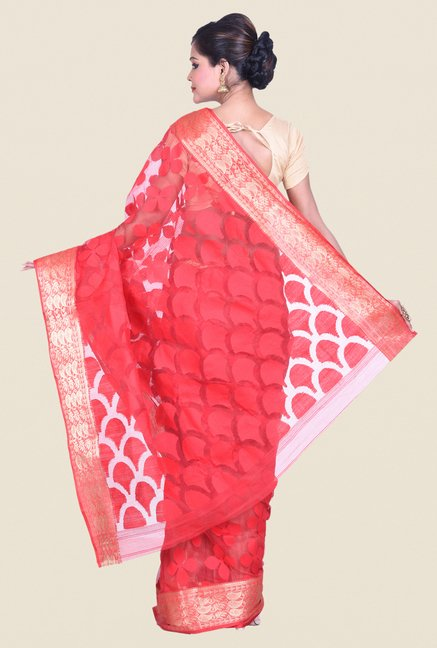 Bengal Handloom Coral Cotton Silk Jamdani Saree
