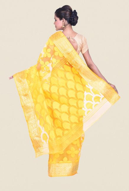 Bengal Handloom Yellow Cotton Silk Jamdani Saree