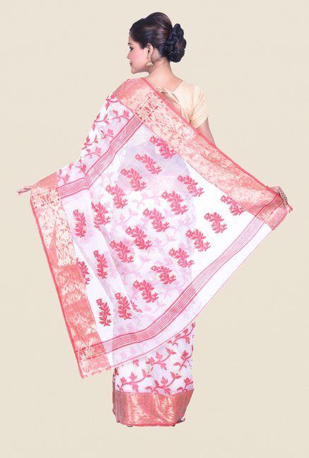Bengal Handloom White & Pink Cotton Silk Jamdani Saree