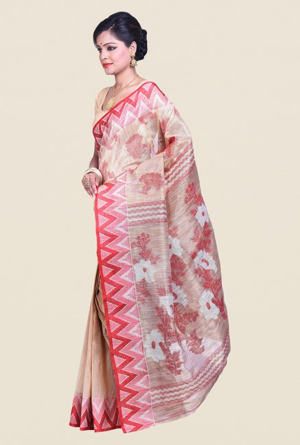 Bengal Handloom Beige & Pink Cotton Silk Jamdani Saree