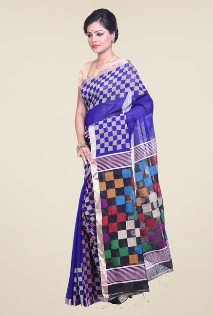 Bengal Handloom Checked Blue Cotton Silk Saree