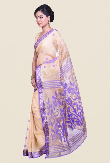 Bengal Handloom Beige & Purple Cotton Tussare Silk Saree