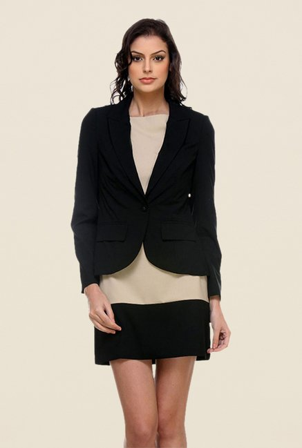 Kaaryah Black Solid Full Sleeves Blazer