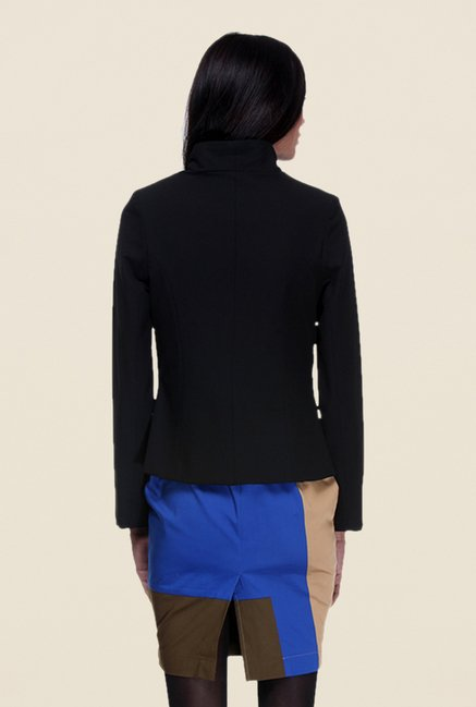 Kaaryah Black Solid Full Sleeves Jacket