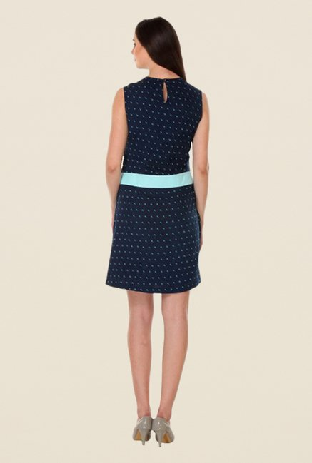 Kaaryah Navy Printed Sleeveless Dress