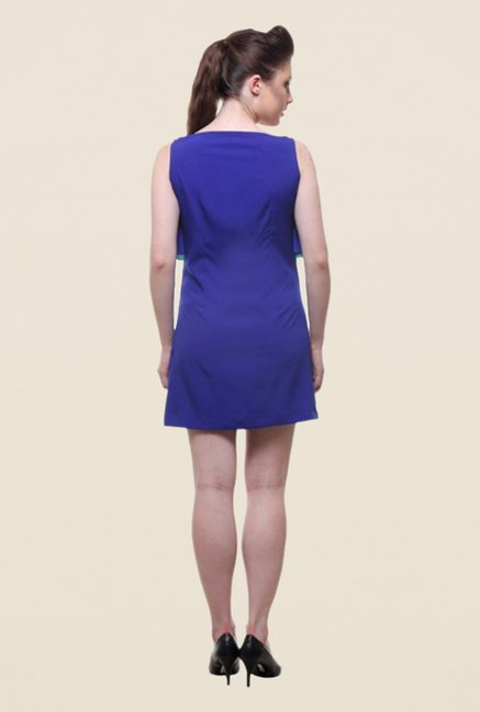 Kaaryah Blue Solid Boat Neck Dress