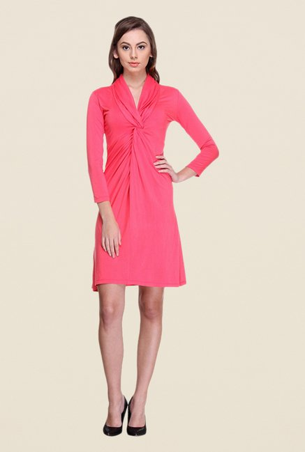 Kaaryah Coral Solid Dress