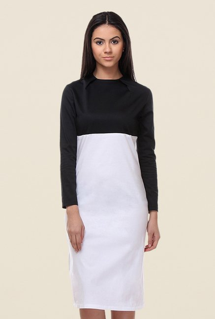 Kaaryah Black & White Solid Dress