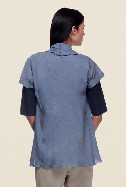 Kaaryah Blue Solid Shrug