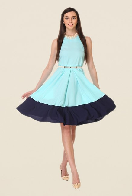 Kaaryah Sea Blue & Navy Solid Dress