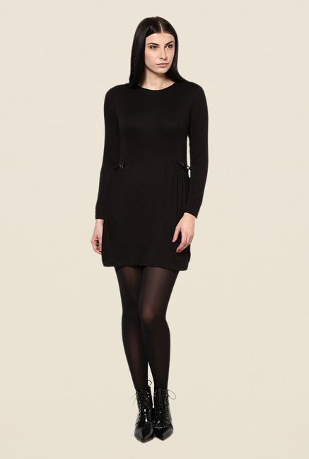 Kaaryah Black Solid Round Neck Relaxed Fit Dress