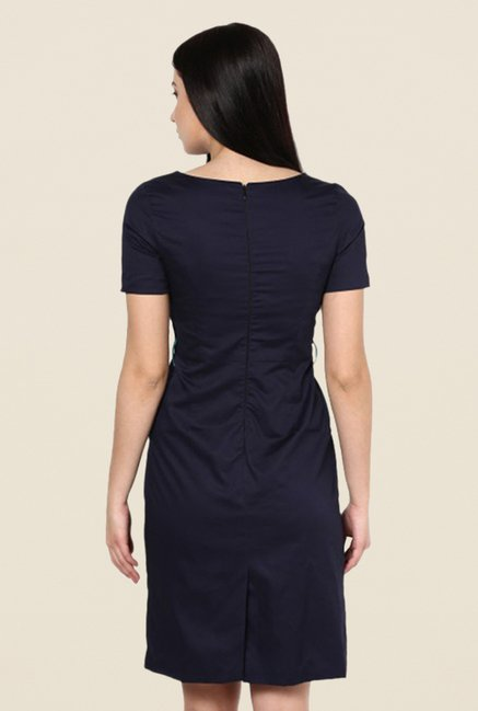 Kaaryah Navy Solid Boat Neck Dress