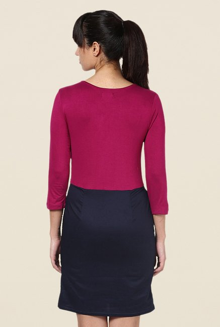 Kaaryah Magenta & Navy Solid Dress