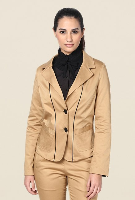 Kaaryah Khaki Solid Full Sleeves Blazer