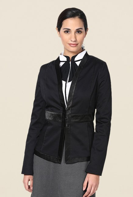 Kaaryah Black Satin Lapel Solid Full Sleeves Jacket