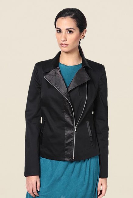 Kaaryah Black Slant Placket Zip Up Solid Jacket