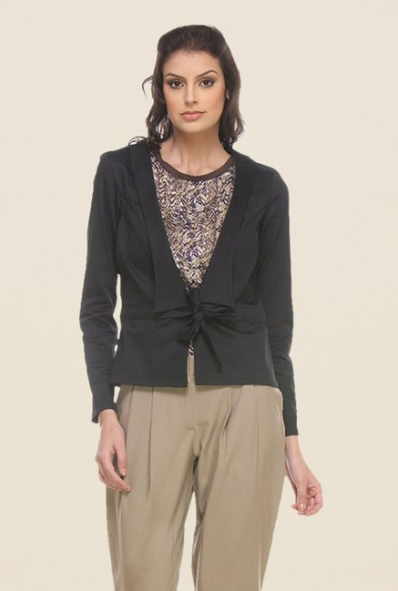 Kaaryah Black Solid Open Collar Jacket