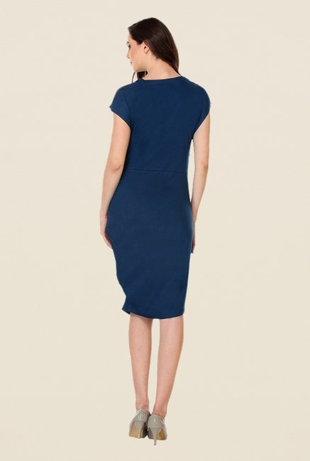 Kaaryah Navy Solid Cowl Neck Dress