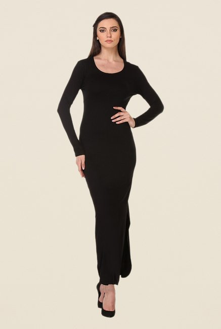 Kaaryah Black Solid Round Neck Dress