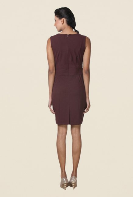 Kaaryah Wine Solid Sleeveless Dress